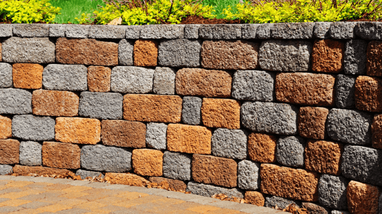 multi colored retaining wall